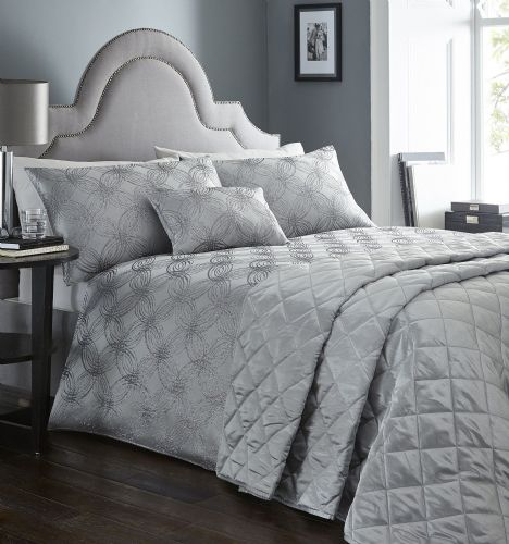 PEWTER GREY STYLISH CIRCLE JACQUARD DUVET COVER LUXURY BEAUTIFUL SHIMMER BEDDING
